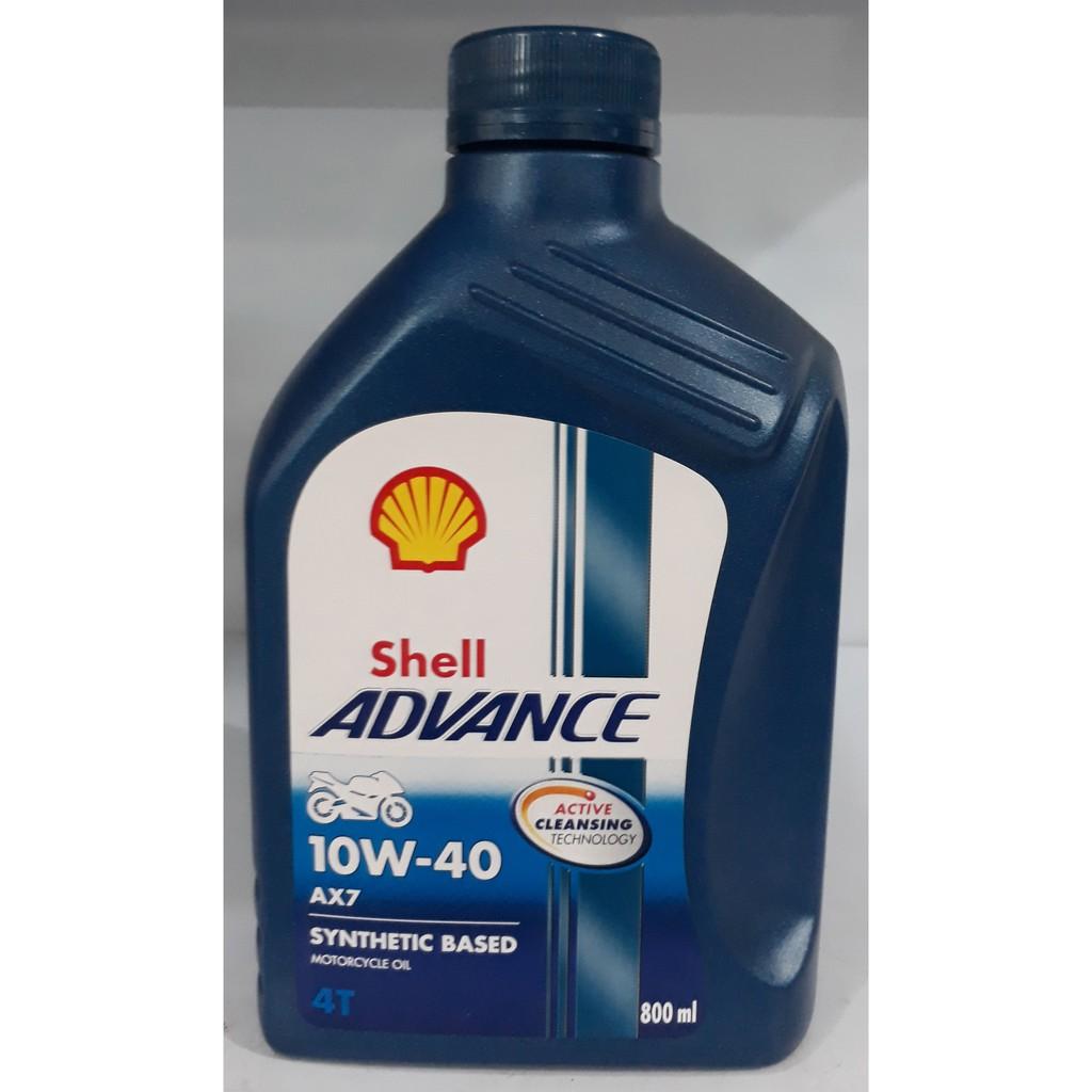 Dầu nhớt bán tổng hợp xe số và xe tay côn Shell Advance AX7 10W-40 800ml
