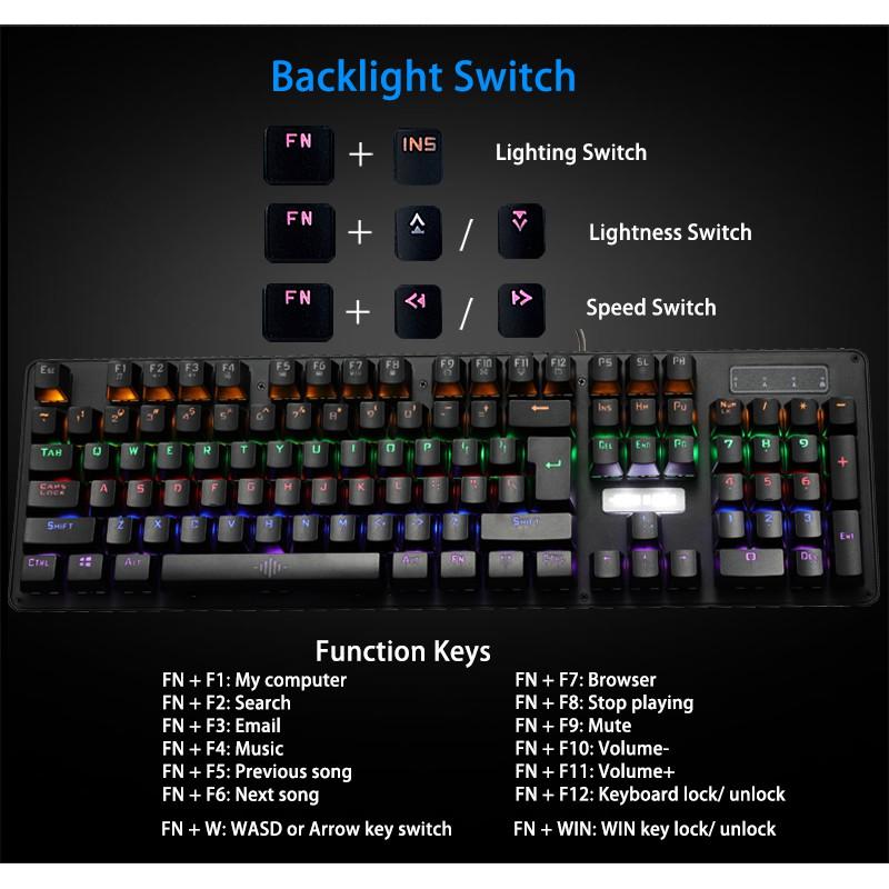 Bàn phím cơ chuyên game Blue Switch Bosston - nhiều chế độ đèn Led
