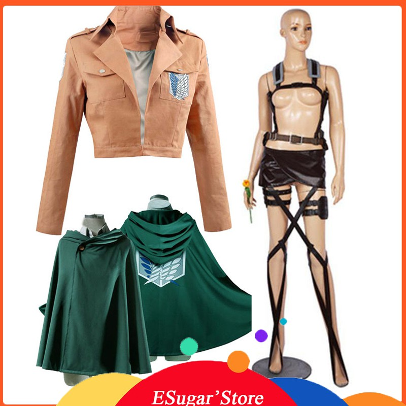 Attack on Titan Jacket Hoodie Cloak Anime Shingeki no Kyojin jacket Legion Cosplay Costume Coat Eren Levi green Cape