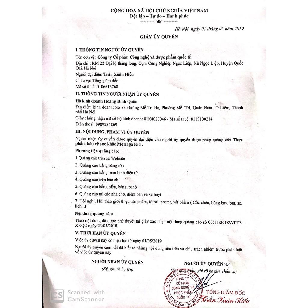 Thực Phẩm Chức Năng Cốm Chùm Ngây Moringa Kid - Hỗ Trợ Bé Ăn Ngon Trị Táo Bón (20gói/hộp)