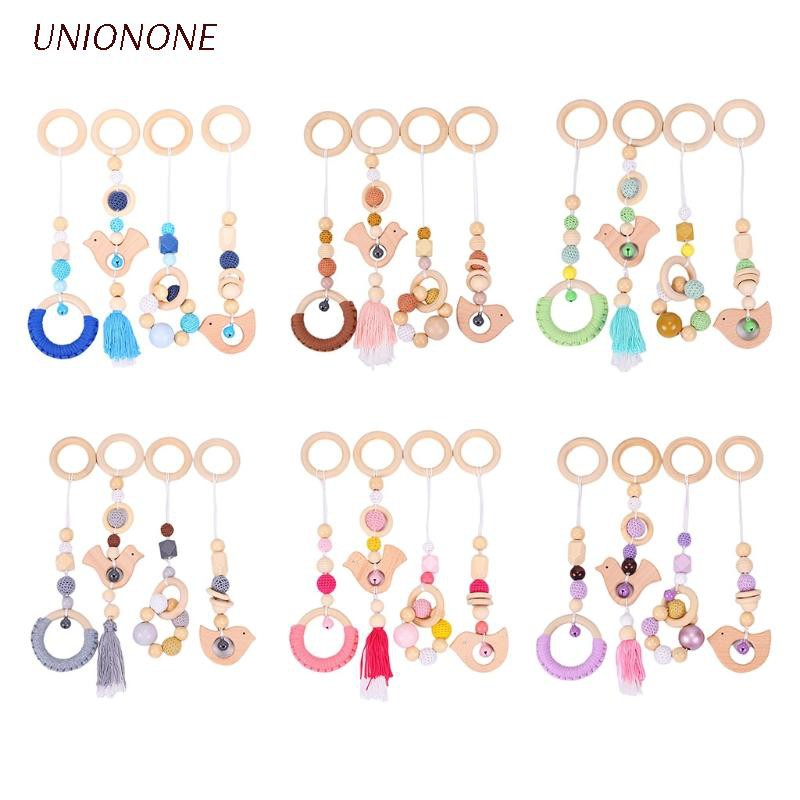 ONE 4 Pcs/Set Baby Gym Frame Stroller Hanging Pendants Wooden Ring Teether Molar Toy pacifier clip holder silicone pacifier clip holder set pacifier clip teethers pacifier clip girl silicone bpa free pacifier clip girl silicon pacifier clip girl newborn