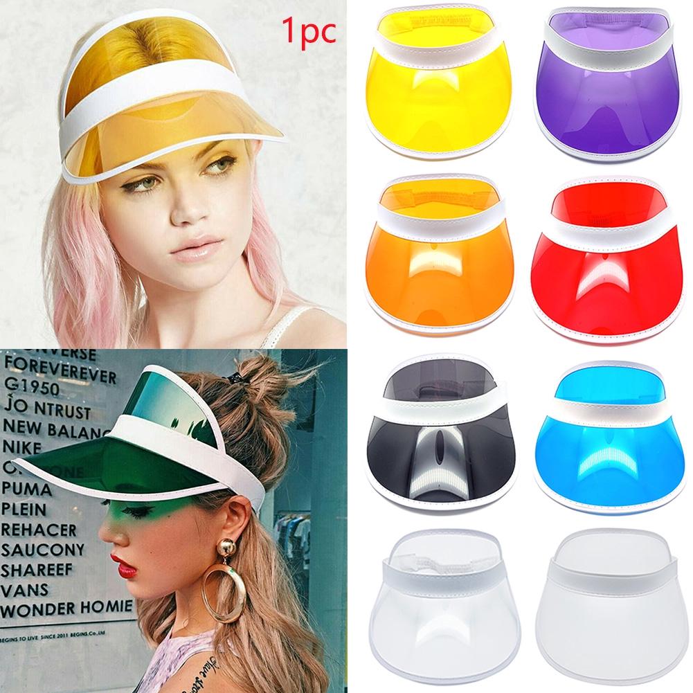 Fashion Summer Unisex Wide Brim Outdoor Activities Empty Top Transparent PVC UV Visor Sun Hat