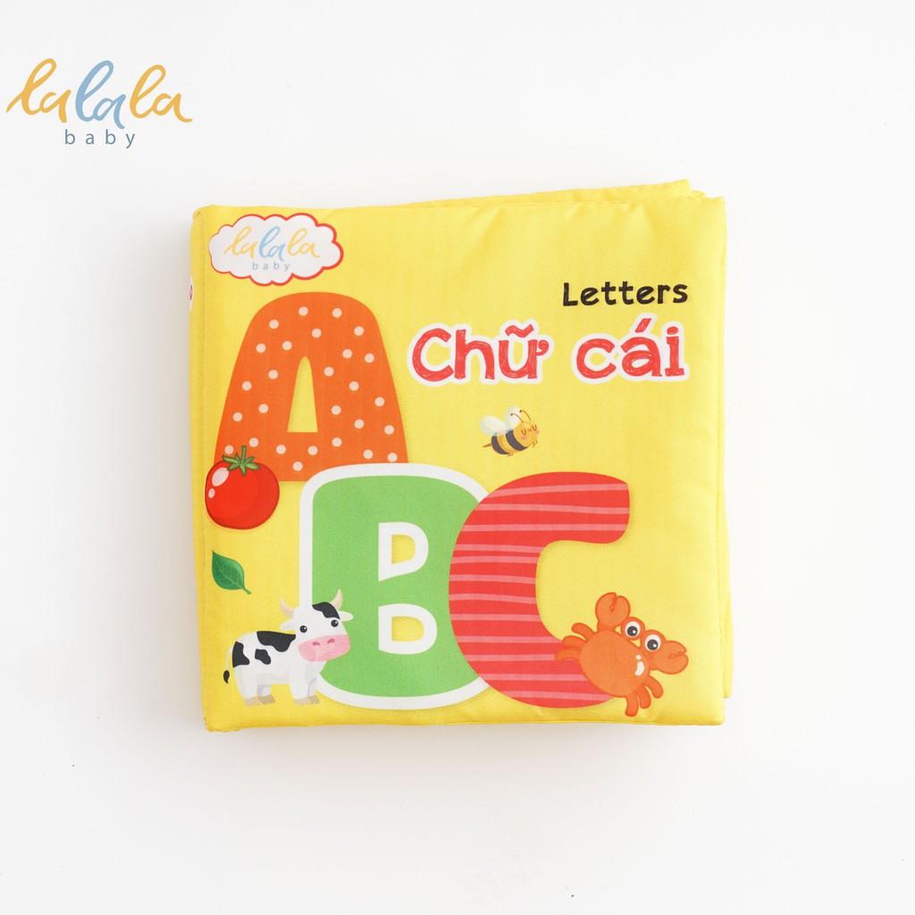 [Mã TOY5 giảm 10% đơn 50K] Sách vải Lalala baby, kích thích đa giác quan chủ đề Chữ cái, kích thước 15x15cm 12 trang