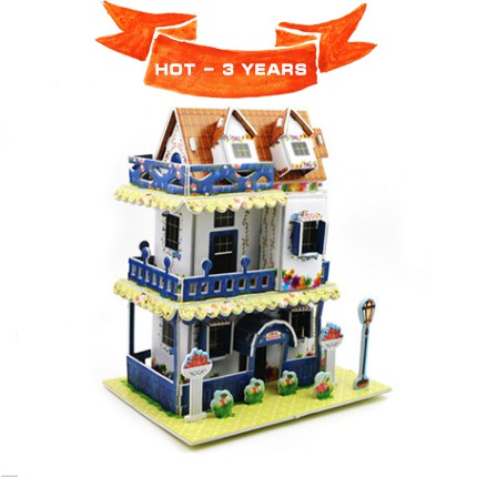 Mô hình nhà bìa ghép kute DIY Căn Nhà Tường Hoa - Phát triển trí tuệ cho bé (Từ 3 tuổi trở lên) - M