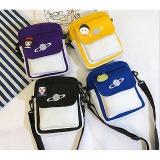 Túi Vải Nữ Đeo Chéo Mini Phong Cách Hàn Quốc Năng Động Cá Tính tặng sticker ngộ nghĩnh (Ảnh thật)