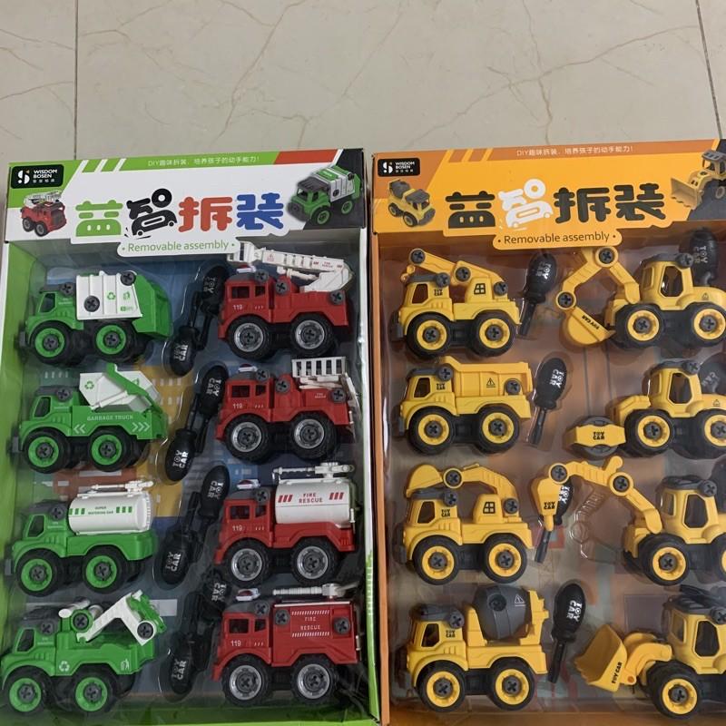 Bộ đồ chơi 8 xe công trình tháo lắp tặng kèm tua vít