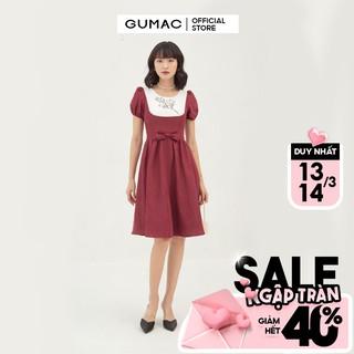 Đầm xòe nữ phối yếm thêu GUMAC đủ màu, đủ size, phong cách thanh lịch, sang trọng DB395 thumbnail