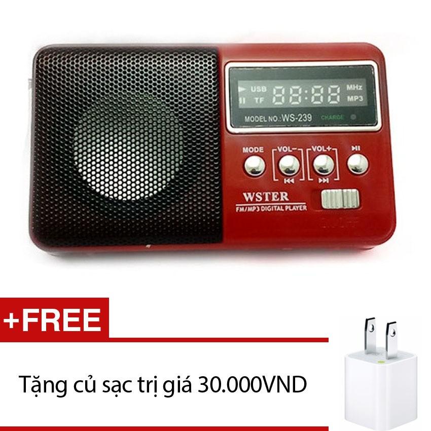 Loa nghe nhạc đa năng Wster WS-239 (Đỏ) + tặng cốc sạc 1A