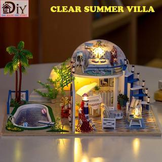 Mô hình nhà búp bê lắp ráp bằng gỗ DIY CLEAR SUMMER VILLA (Kèm dụng cụ keo + LED + MICA) – Quà tặng tự làm bằng gỗ
