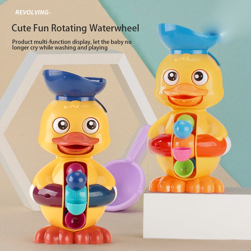 Bath Toys Kids Shower Toys Cute Duck Duck Waterwheel Turn Water Toy Interactive Toys for Toddlers Children Water Play toys