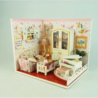 Mô hình nhà gỗ DIY (tự lắp ráp) Thick Honey Love phòng khách có đàn piano