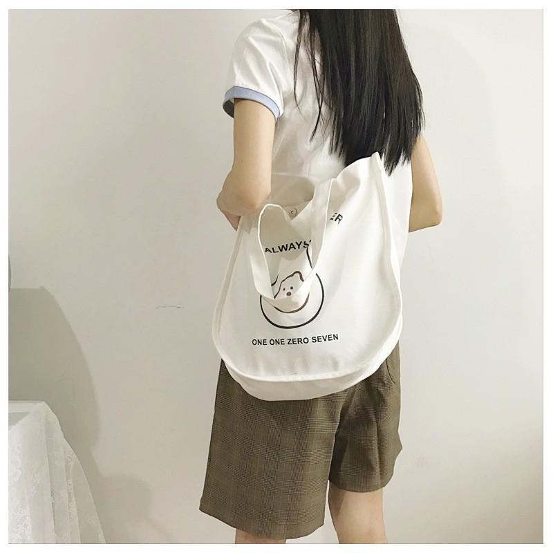 Túi vải tote, túi đeo chéo vải nữ cỡ lớn đáy rộng dễ thương
