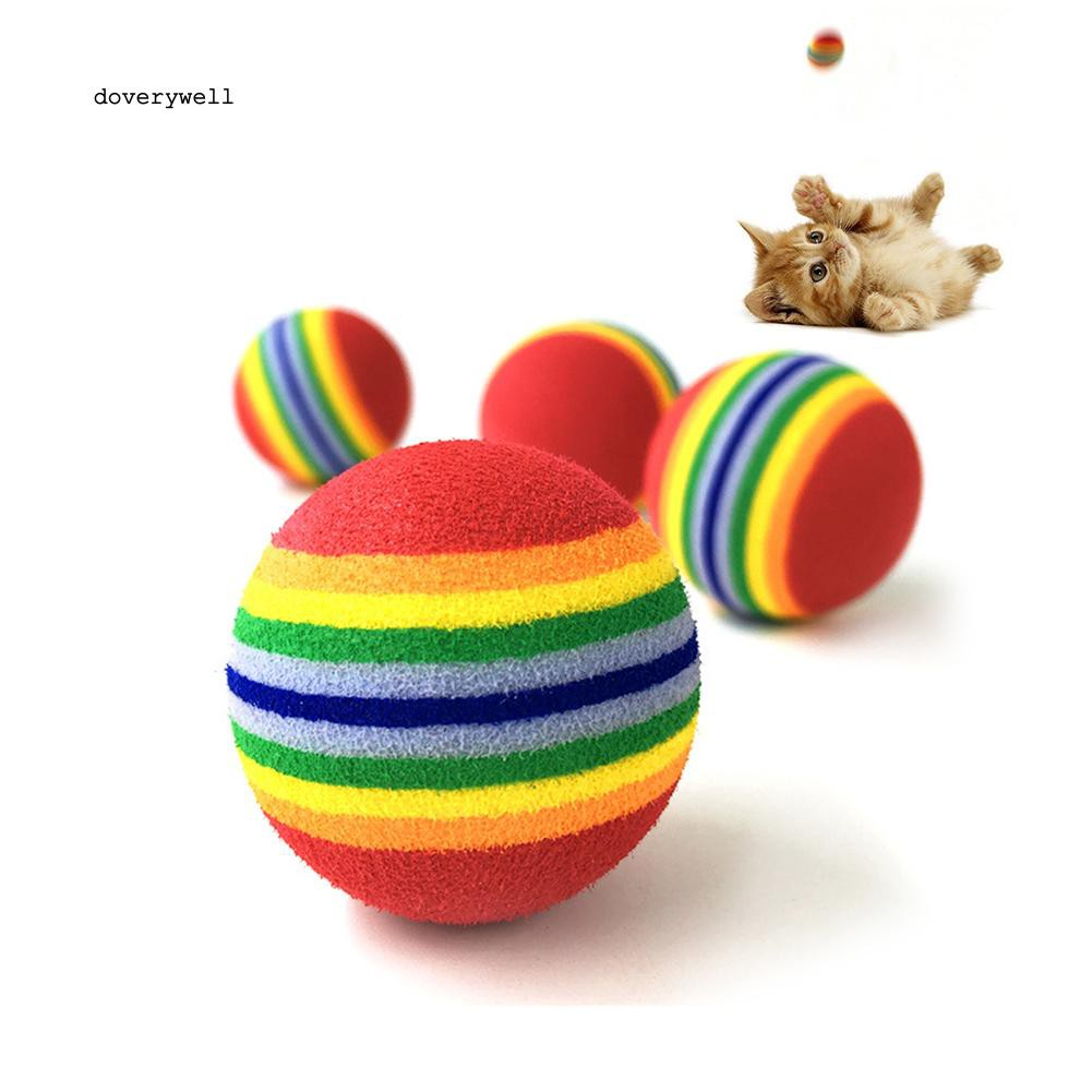 DYL_Funny Pet Dog Puppy Cat Rainbow Striped Chewing Interactive Ball Teething Toy