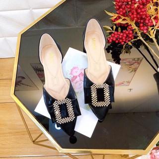 Giày búp bê nữ thời trang, sục nữ mang êm chân da bóng mũi nhọn chuẩn size từ 35-40 gót cao 2p màu Đen thumbnail