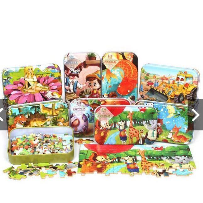 Bộ puzzle ghép hình 60 chi tiết hộp thiếc