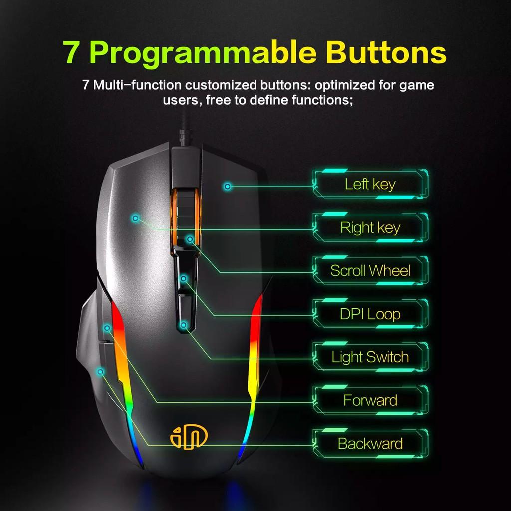 Chuột chơi game Inphic PG7 - 7 Nút điều chỉnh Tuổi thọ 10 triệu lần nhấn tích hợp LED RGB siêu đẹp - Chính Hãng
