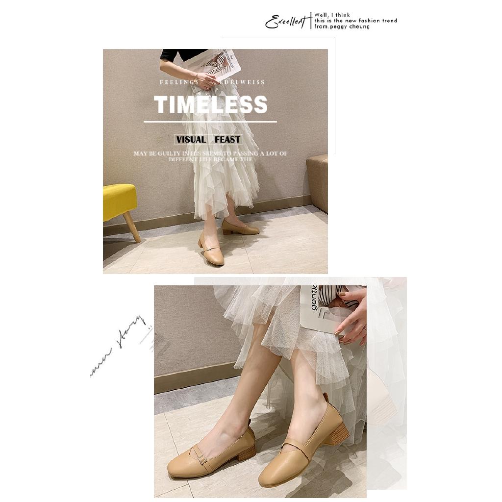 Giày Búp Bê Nữ Gót Vuông Phong Cách Retro Hàn Quốc, Giá tháng 3/2021