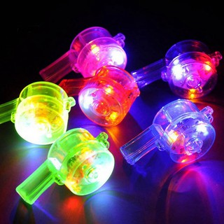 【HKM1】1Pc LED Glowing Colorful Pendant Whistle Lanyard Kids Toy Party Concert Favor