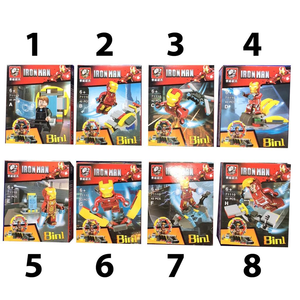 Bộ Lego xếp hình Ironman 8in1 (có 8 mẫu )