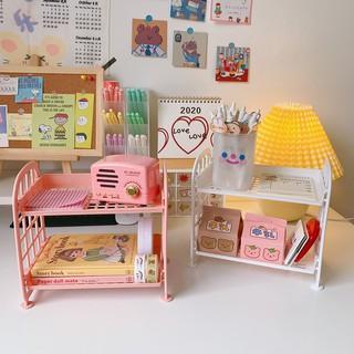 Kệ nhựa mini 2 tầng để đồ dùng học tập trang trí bàn học phong cách Hàn Quốc dành cho cô gái dễ thương ins lyanWN