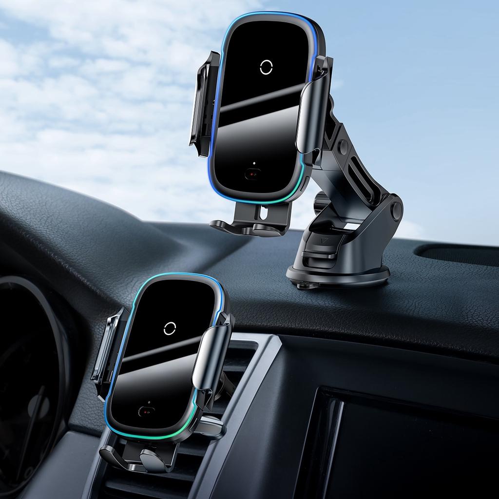 [Mã 267ELSALE hoàn 7% đơn 300K] Bộ đế giữ điện thoại dùng trên xe hơi Baseus Light Electric Holder Wireless Charger 15W