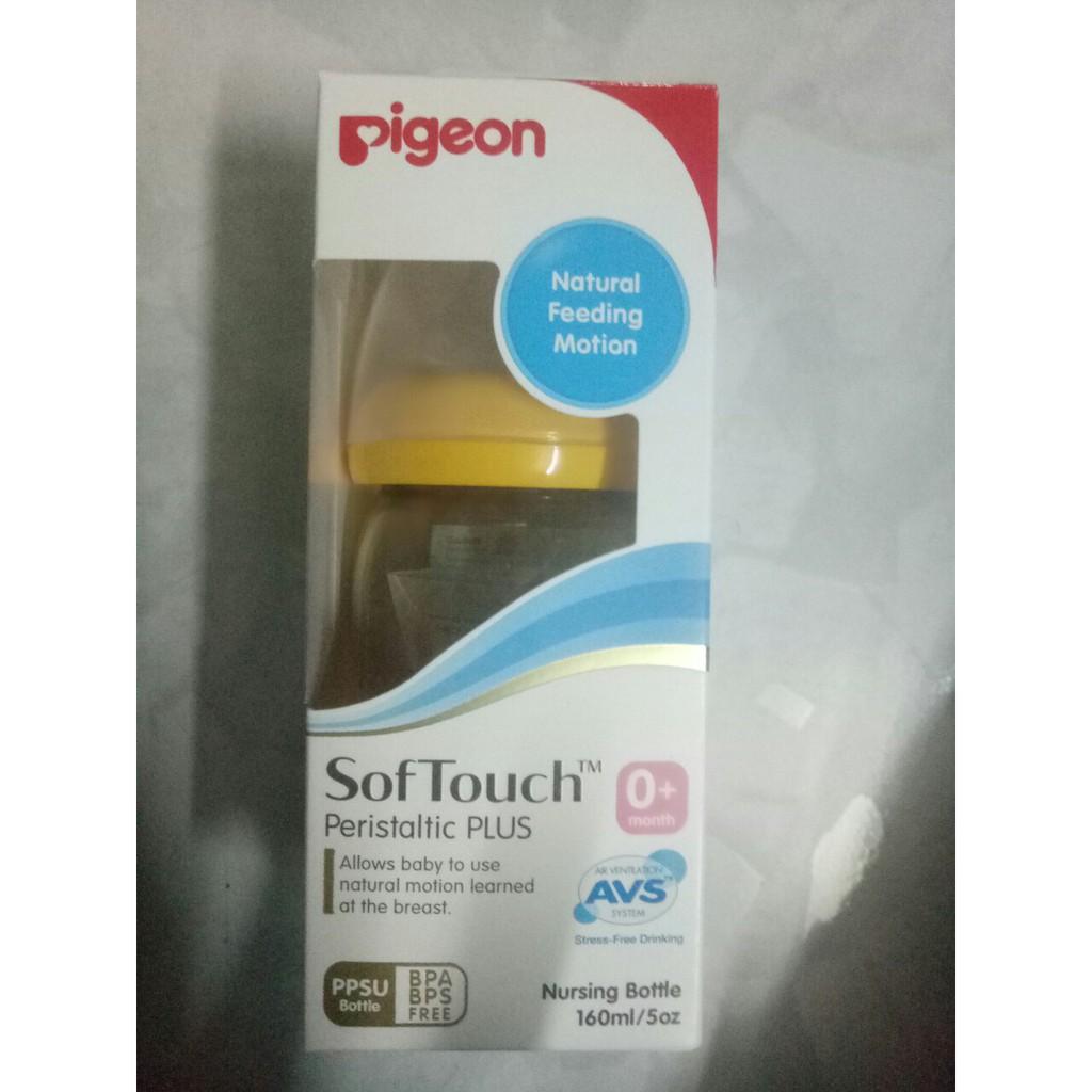 Bình sữa cổ rộng nhựa PPSU Pigeon 160ml Vàng