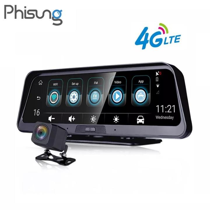 Camera Hành Trình Đặt Cao Cấp Đặt Taplo Ô Tô Nhãn Hiệu Phisung 4G, Wifi, GPS ,10'': Mã E98