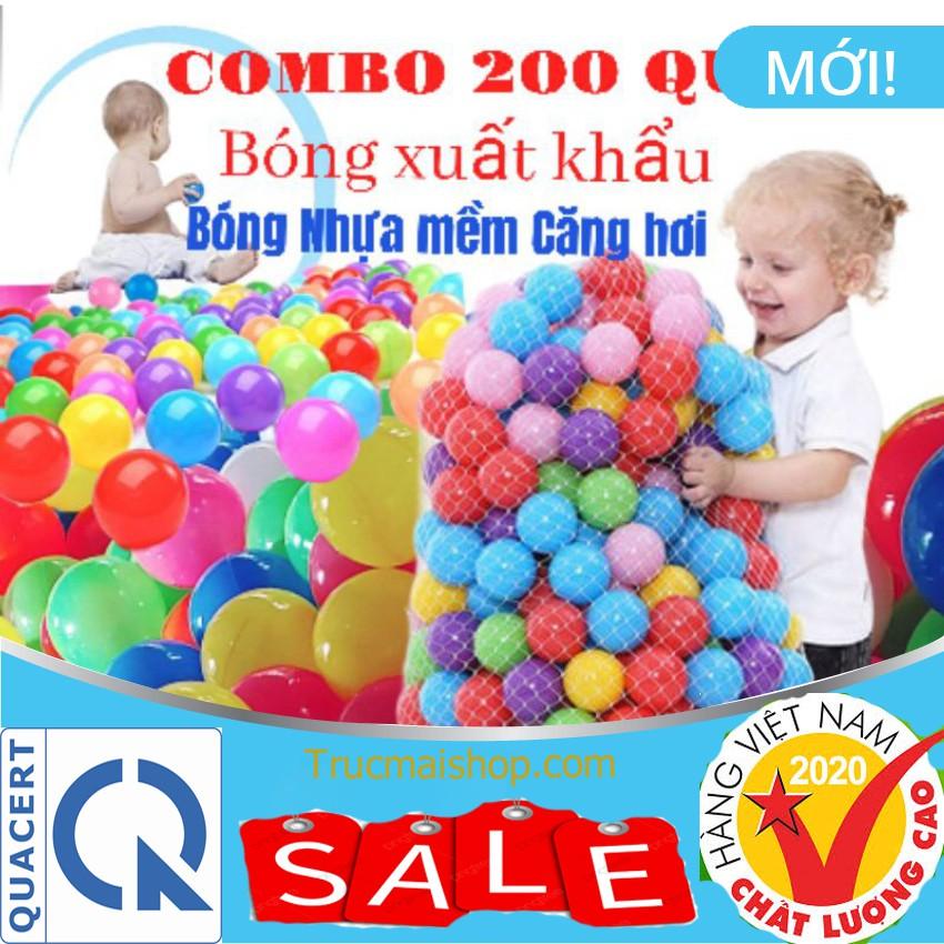 [Tặng Quà] Combo 200 Bóng nhựa mềm banh đồ chơi cho bé Hàng Xuất Khẩu căng hơi không mùi màu đẹp độ bền cao