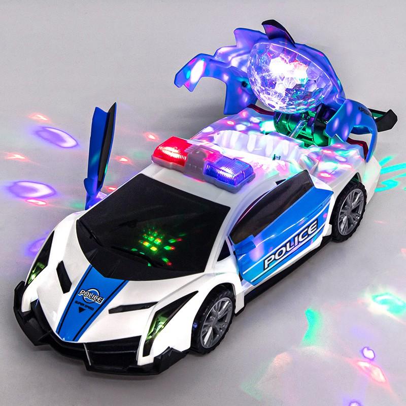 Đồ chơi xe ô tô cảnh sát biến hình, xoay 360, có đèn, có nhạc loại xịn