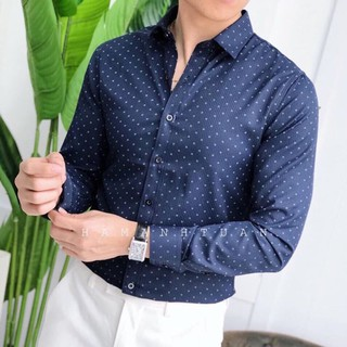 Áo sơ mi họa tiết chấm bi Hamino mặc công sở cao cấp chất vải siêu đẹp