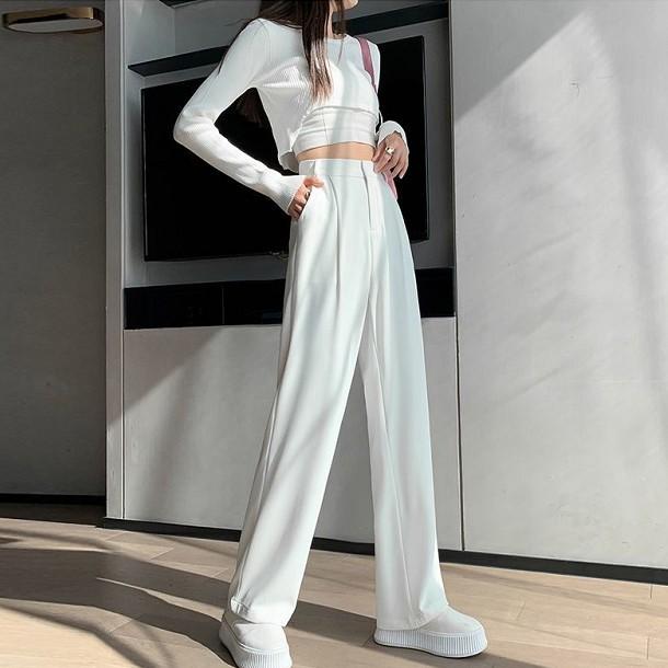 Mặc gì đẹp: Sang trọng với Quần ống rộng suông dáng dài MIUMIU, quần tây ống rộng suông nữ công sở cao cấp Đen – Tím - Trắng - Nâu Tây