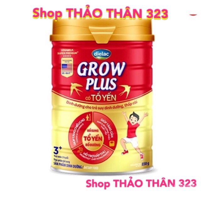 SỮA BỘT GROW PLUS TỔ YẾN VINAMILK - MẪU MỚI LON 850gram