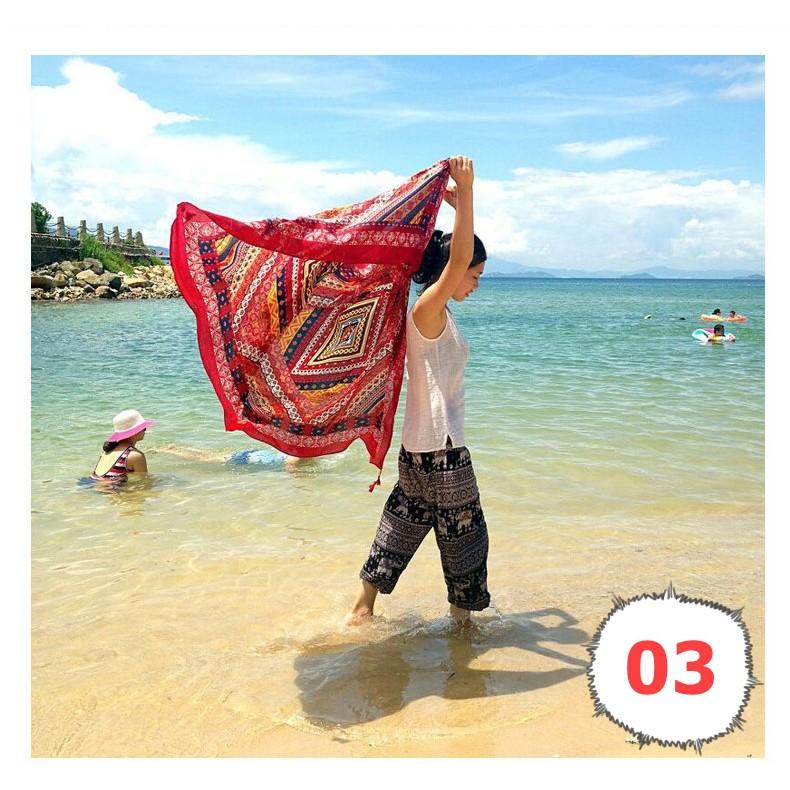Khăn choàng chống nắng vintage thời trang thổ cẩm đa màu sắc KC51051