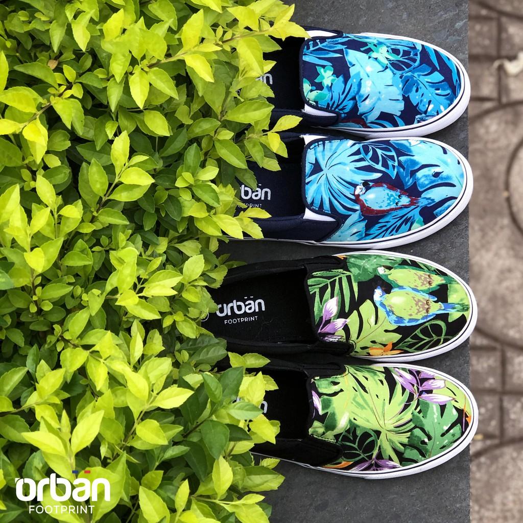 D&A giầy slipon nữ UL1709 hoa xanh chàm