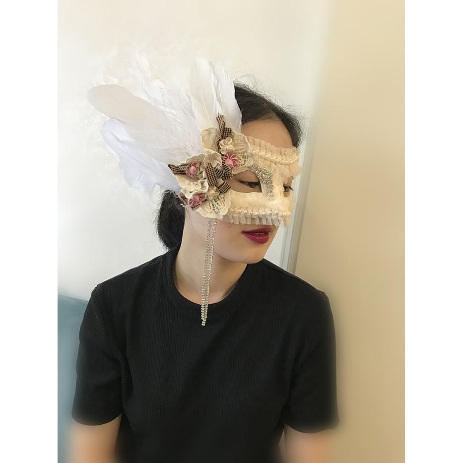 mặt nạ hóa trang venetian màu be