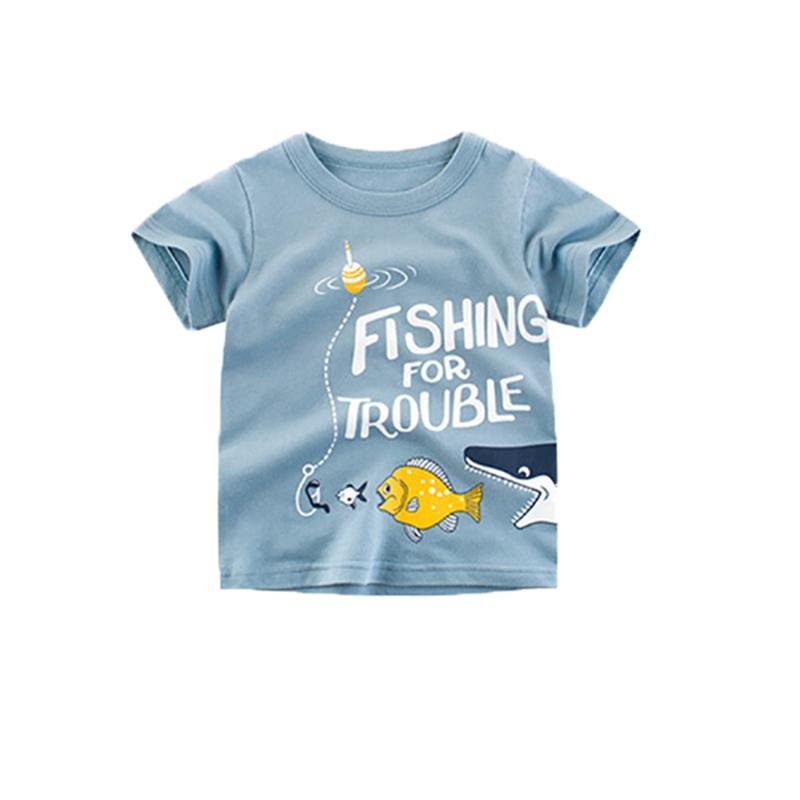 Áo thun ngắn tay hình cá mập cho bé trai