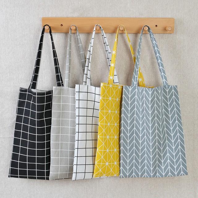 Túi vải mua sắm họa tiết kẻ sọc đơn giản tiện lợi cho nữ