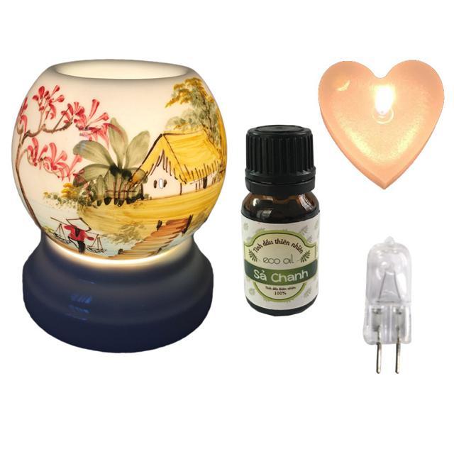 Combo đèn xông tinh dầu MNB, tinh dầu Eco oil 10ml và nến thơm hình tim (tặng 1 bóng dự phòng)