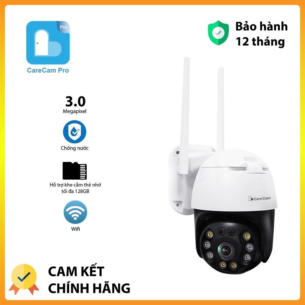 Camera wifi ngoài trời Carecam 20HS300 PTZ 8 led 3.0MP Full HD 1296,xoay 360 chính hãng,ngoài trời chống nước.