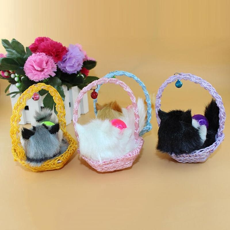 Simulation Shopping Basket Cat Animal Doll Plush Toy Decorations Birthday Gift