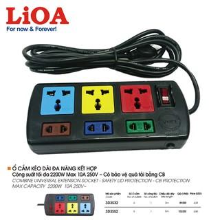 [6ổx3mx2200W] Ổ cắm điện LiOA – Ổ cắm kéo dài đa năng kết hợp 6 ổ LiOA – 3D3S32