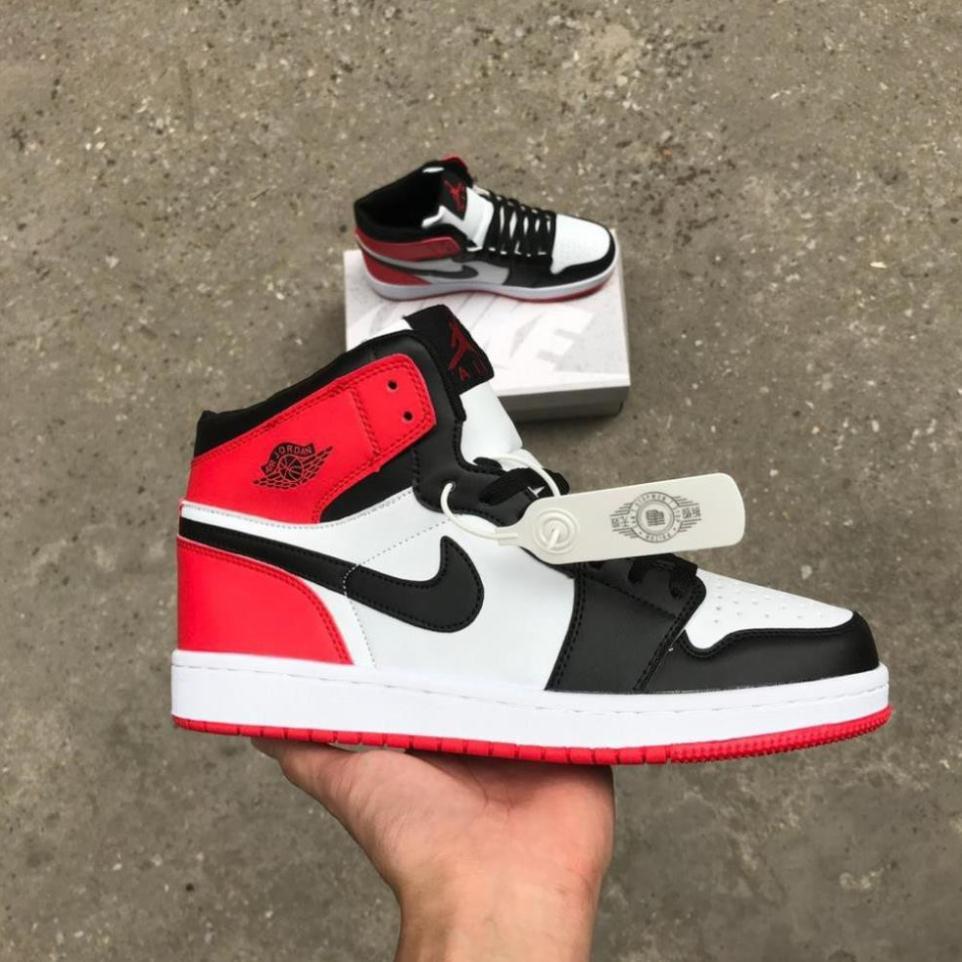 Giày Jordan 1 retro high og bred toe, Giày thể thao Jd1 cao cổ đen đỏ nam nữ full box bill