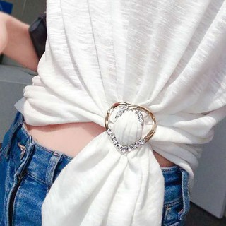 Knotted corners, buckle, scarf, buckle, all-match artifact, shirt, hem, t-shirt, t-shirt, female clothes, decorative accessories, brooch