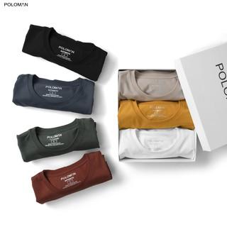 Áo thun nam cổ tròn POLOMAN vải Cotton co giãn,dày dặn, form regular fit B02
