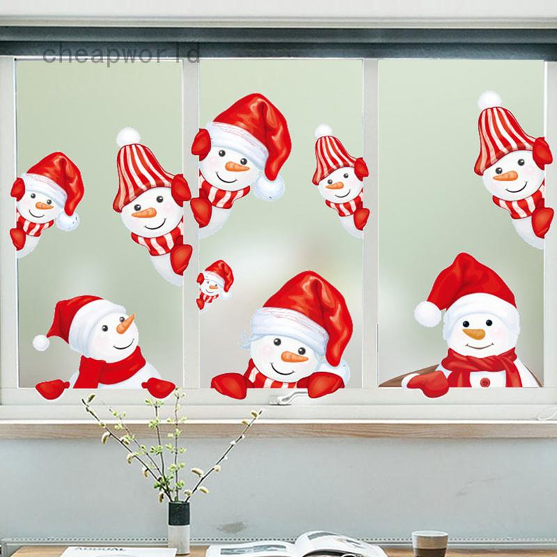 Miếng Dán Trang Trí Cửa Kính Hình Người Tuyết Giáng Sinh