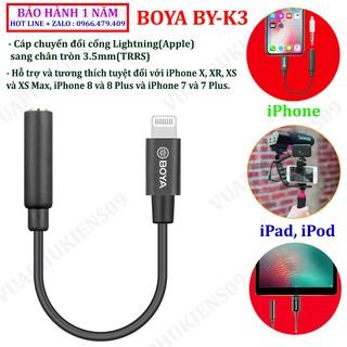 BOYA BY-K3 cap zin chuyển đổi cổng Lightning(Apple) sang cổng chân tròn 3.5mm(TRRS)   Hàng chính hãng