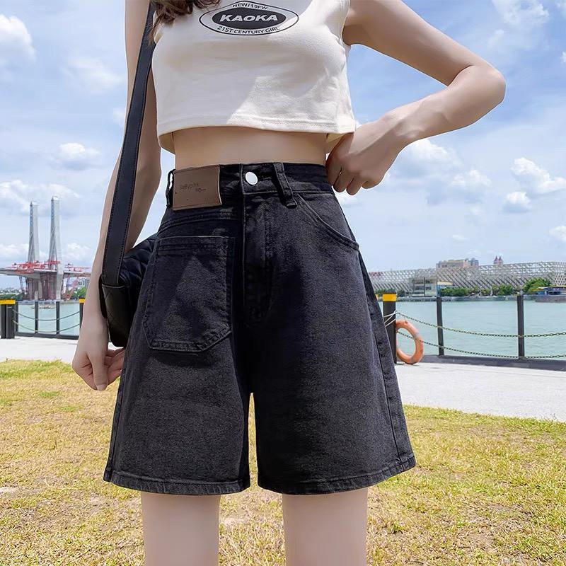 Quần short denim nữ lưng cao phong cách retro Hàn Quốc