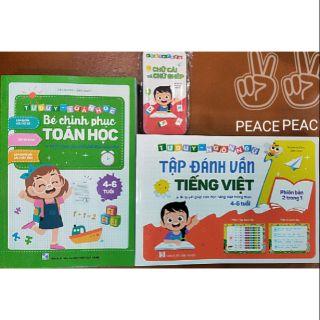 Bộ Tập đánh vần tiếng Việt + Bé chinh phục Toán học 4 – 6 tuổi (kèm quà tặng)