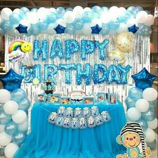 {Tặng bơm keo} Combo trang trí sinh nhật 2 Rèm Kim Tuyến, Bóng Chữ Happy Birthday và 50 bóng tròn+ bóng sao+ bóng em bé
