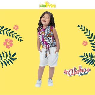 Áo sơ mi cột tà bé gái AmPrin Floral AG729